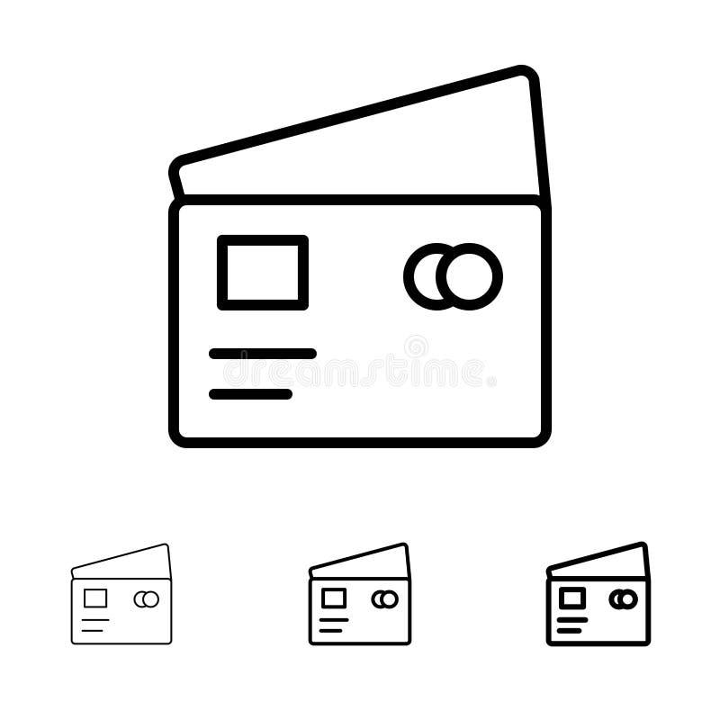 Kreditering, debitering, globalt, lön och att shoppa den djärva och tunna svarta linjen symbolsuppsättning royaltyfri illustrationer
