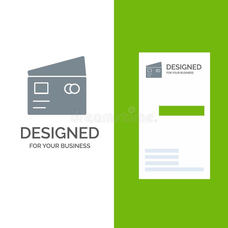 Kreditering, debitering, globalt, lön, shopping Grey Logo Design och mall för affärskort royaltyfri illustrationer