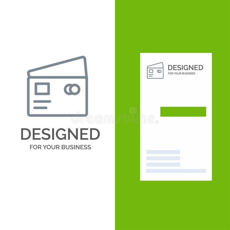 Kreditering, debitering, globalt, lön, shopping Grey Logo Design och mall för affärskort stock illustrationer