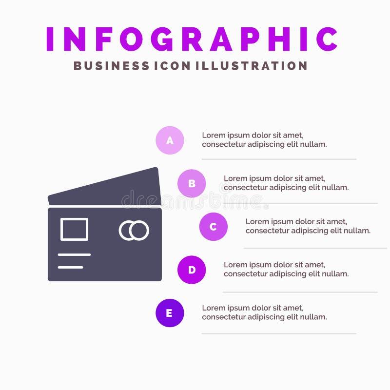 Kreditering debitering som är global, lön, för symbolsInfographics 5 för shopping fast bakgrund för presentation moment stock illustrationer