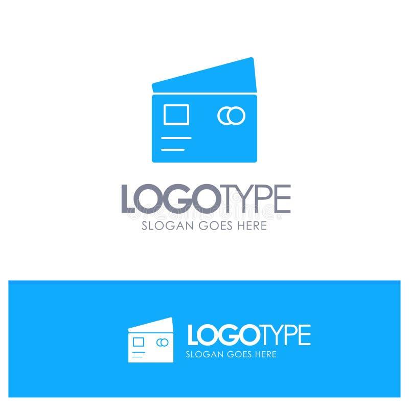 Kreditering debitering som är global, lön som shoppar blå fast logo med stället för tagline stock illustrationer