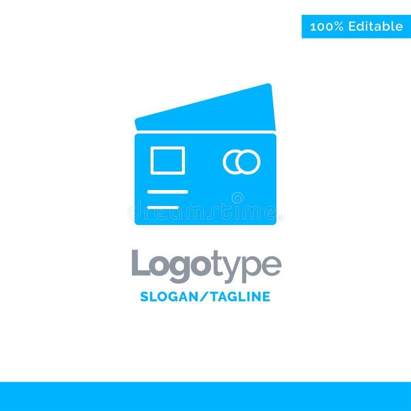 Kreditering debitering som är global, lön, shopping blåa fasta Logo Template St?lle f?r Tagline stock illustrationer