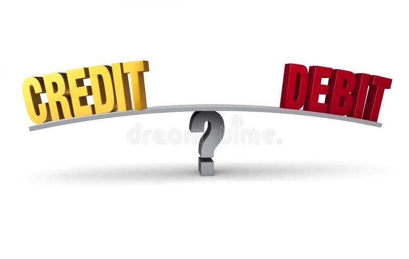 Kreditering eller debitering vektor illustrationer