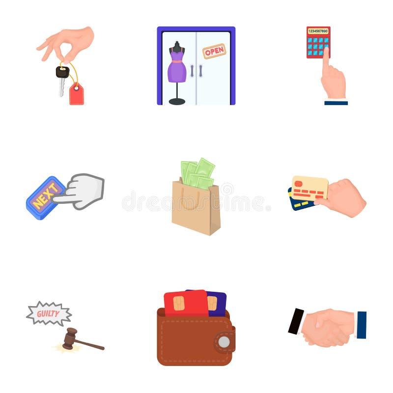 Kreditering kortet, pengar, fyndet, räknemaskinen, auktion, shoppar E- utformar fastställda samlingssymboler för kommers i teckna stock illustrationer