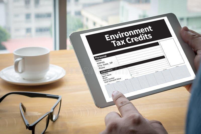 Krediteringar för form för miljöskattelättnaddokument arkivbild