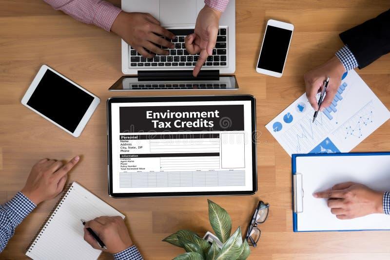 Krediteringar för form för miljöskattelättnaddokument arkivfoton