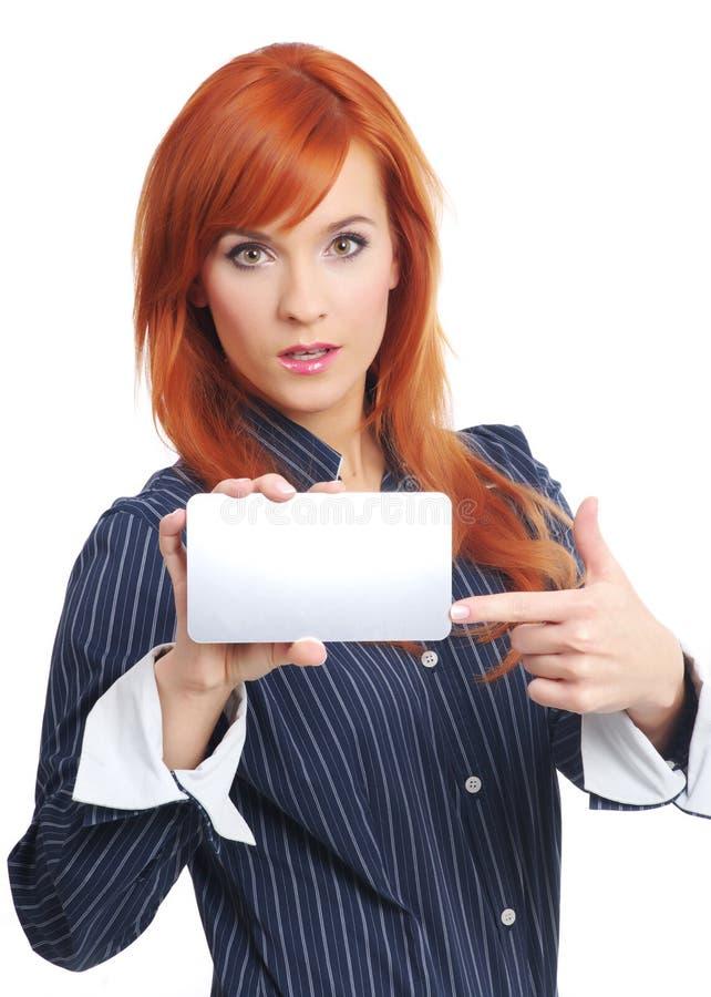 krediteringskvinna för blankt kort royaltyfri fotografi