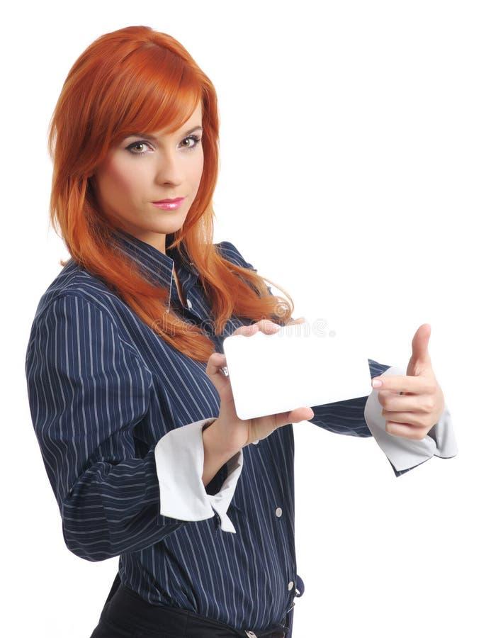krediteringskvinna för blankt kort arkivbild