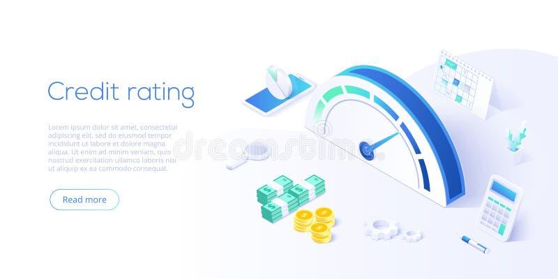 Krediteringsställning eller klassabegrepp i isometrisk vektorillustration Lånhistoriemeter eller skala för creditworthinessrappor vektor illustrationer