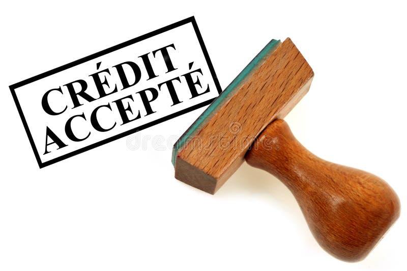 Krediteringsstämpeln accepterade kreditering som var skriftlig i franskt vektor illustrationer