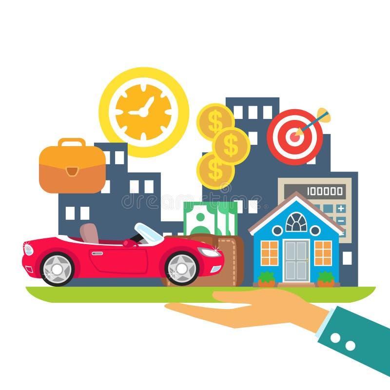 Krediteringsuthyrning intecknar stock illustrationer