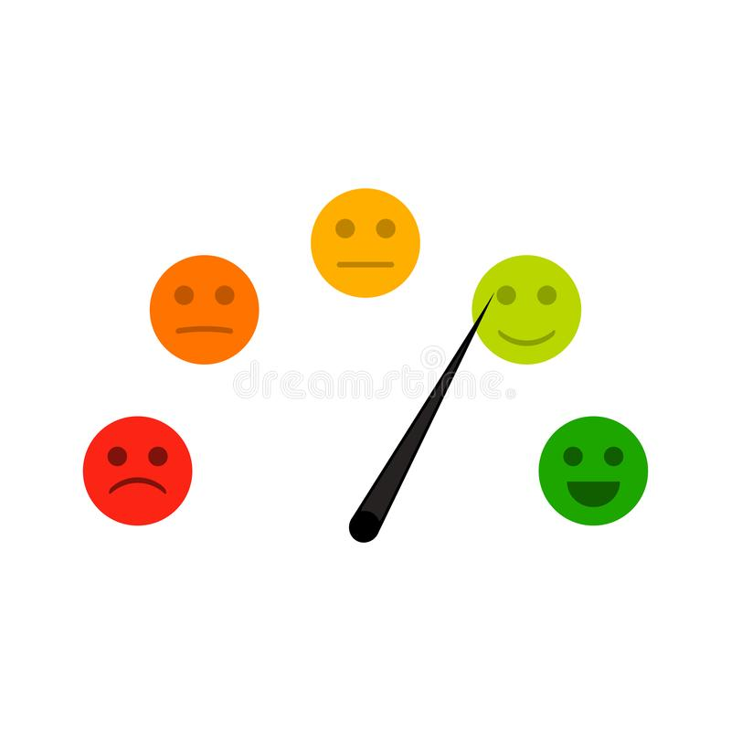 Kreditindikator mit dem Stimmungsgesicht traurig und nett vektor abbildung