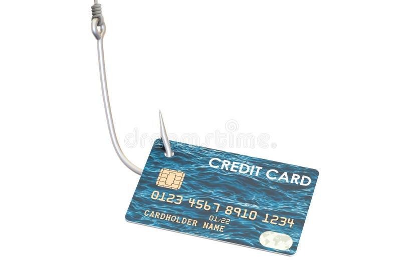 Kreditkarte auf dem Haken, phishing Konzept Wiedergabe 3d stock abbildung