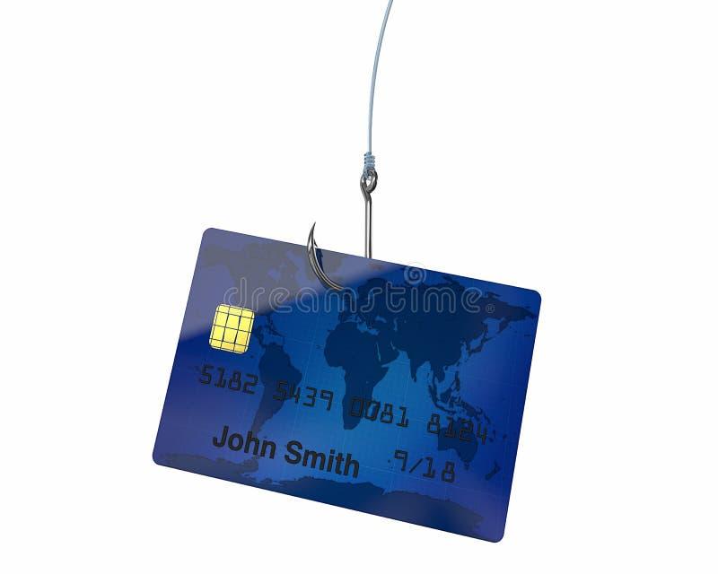Kreditkarte auf Haken lizenzfreie abbildung