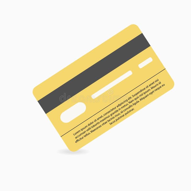 Kreditkarte auf weißem Hintergrund mit Schatten unter ihm lizenzfreie abbildung