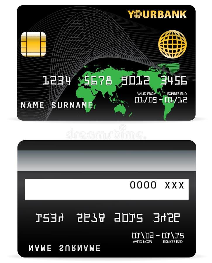 Kreditkarte auf Wellen-Zeilen und   stock abbildung