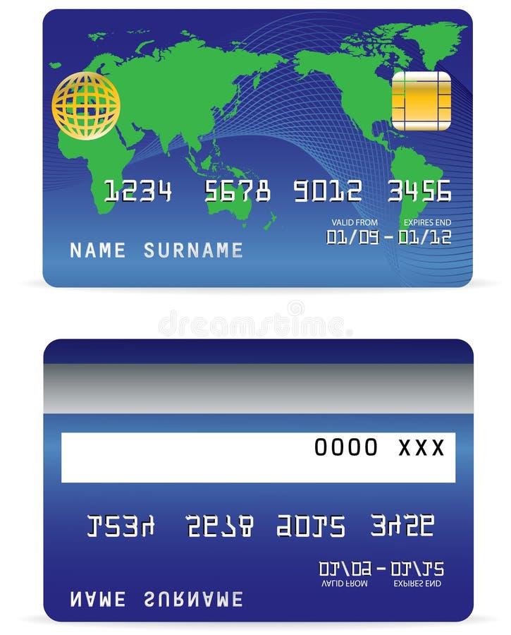 Kreditkarte auf Wellen-Zeilen und Weltkarten-Hintergrund vektor abbildung