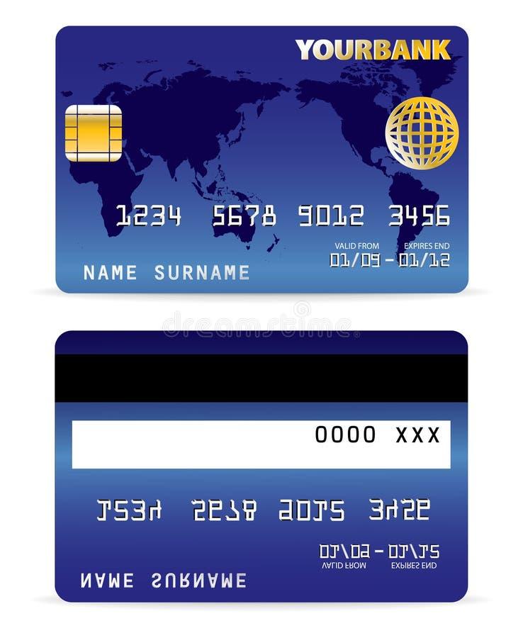 Kreditkarte auf Wort-Karte Backgr vektor abbildung