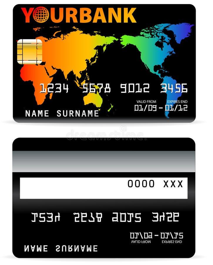 Kreditkarte auf Wort-Karte Backgr stock abbildung