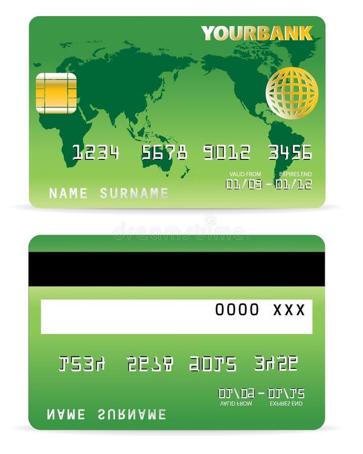 Kreditkarte auf Wort-Karte und GR stock abbildung