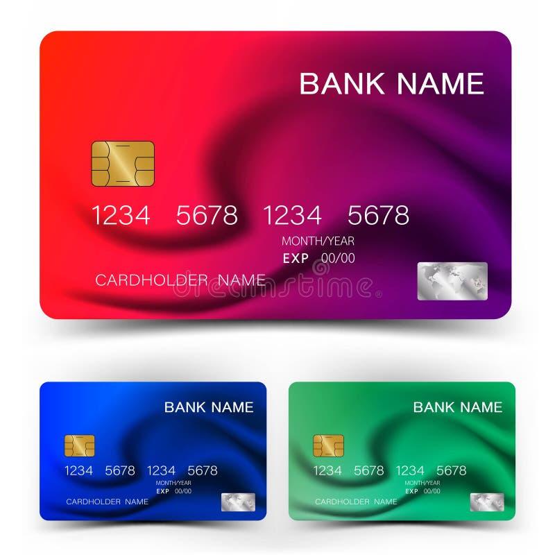Kreditkarte-Design Mit Inspiration von der Zusammenfassung Rotes Purpur der Mischung und blaue grüne Farbe auf weißem Hintergrund lizenzfreie abbildung