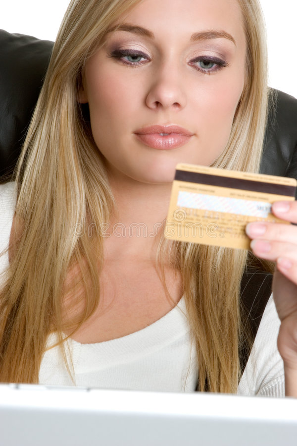 Kreditkarte-Frau lizenzfreie stockbilder