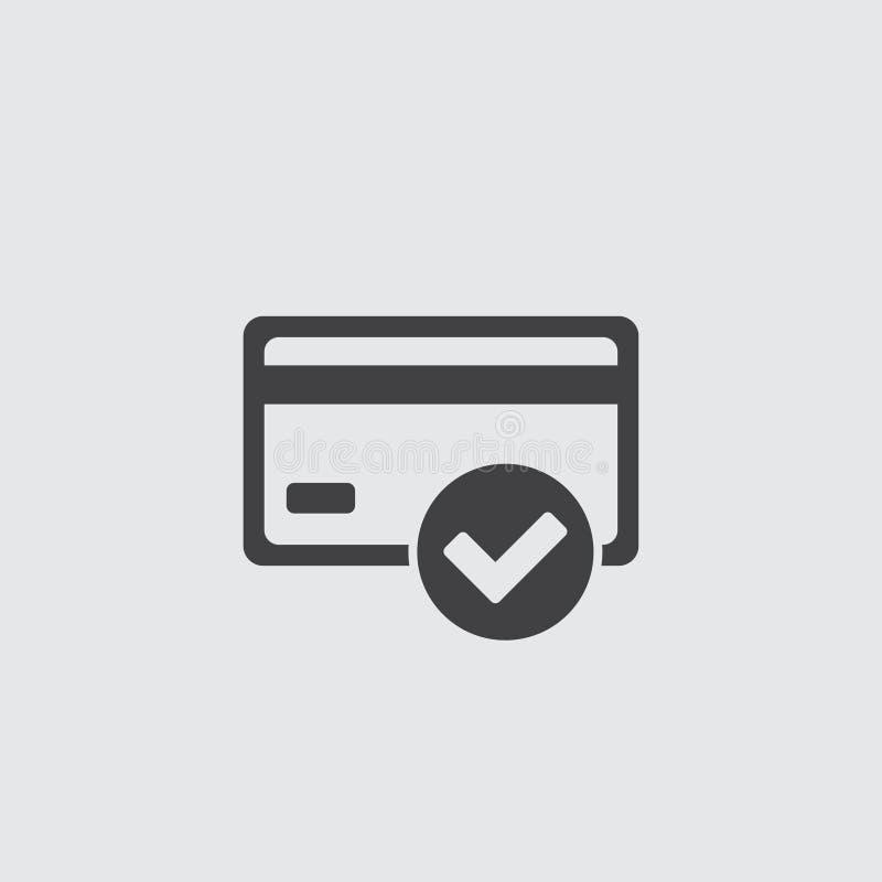Kreditkarte genehmigte Ikonenillustration lokalisierte Vektorzeichensymbol stock abbildung