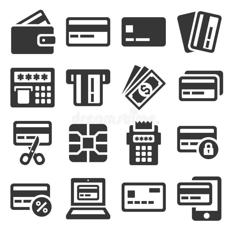 Kreditkarte-Ikonen eingestellt auf weißen Hintergrund Vektor vektor abbildung