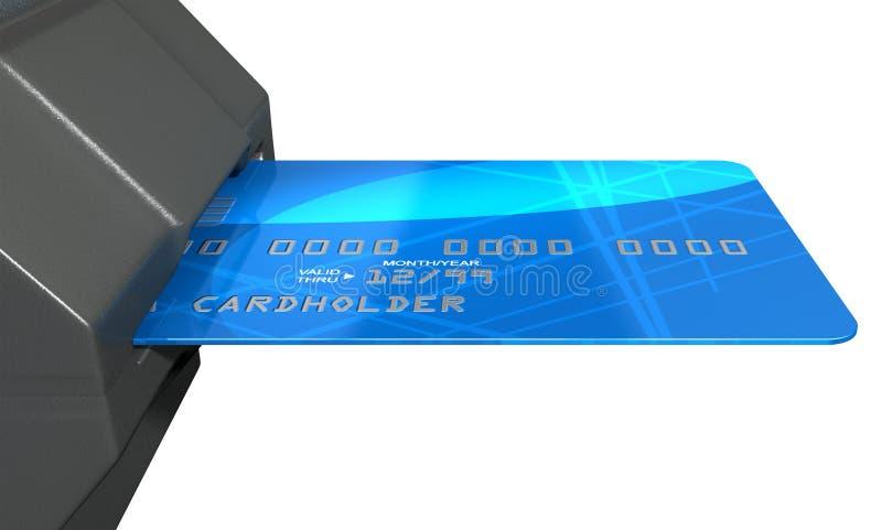 Kreditkarte im Zahlungs-Schlitz lizenzfreie abbildung