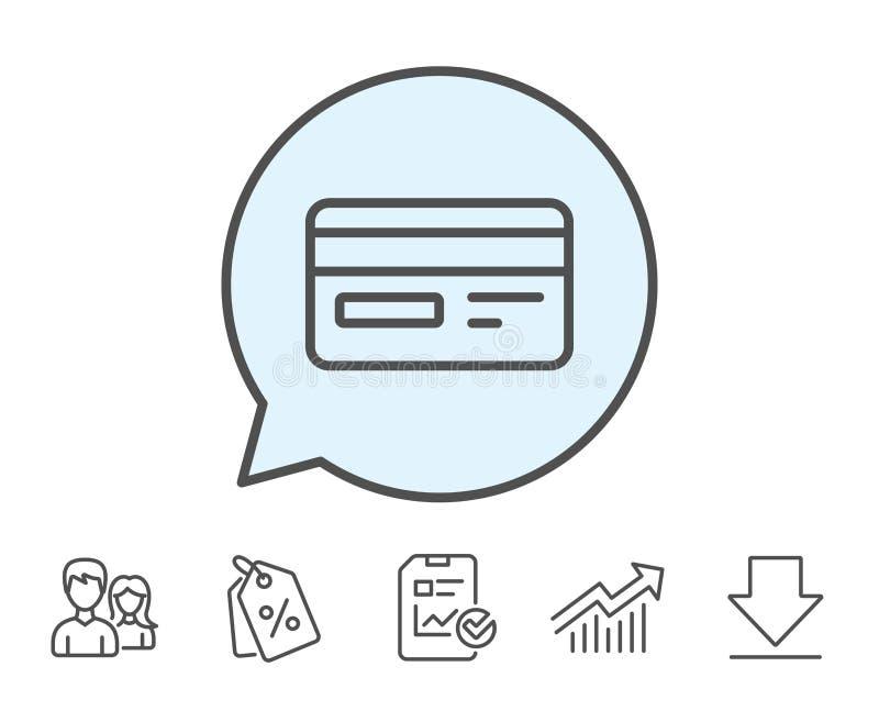 Kreditkarte-Linie Ikone Bankzahlungsmethode lizenzfreie abbildung