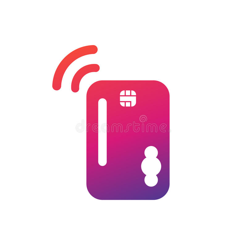 Kreditkarte mit Chipikone auf Weiß lizenzfreie abbildung