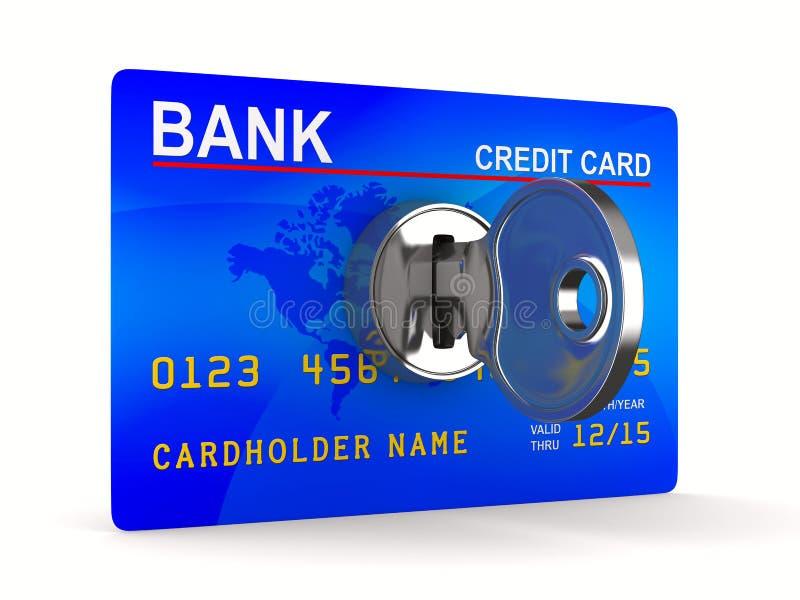 Kreditkarte mit Taste stock abbildung