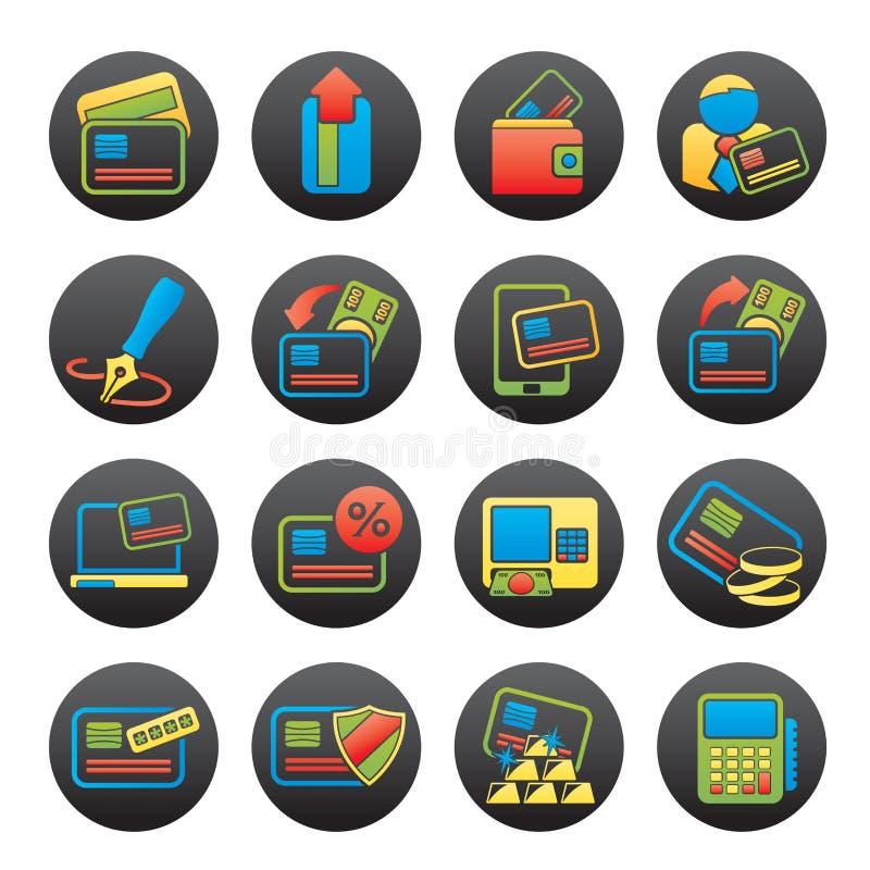 Kreditkarte, Positions-Anschluss und ATM-Ikonen vektor abbildung