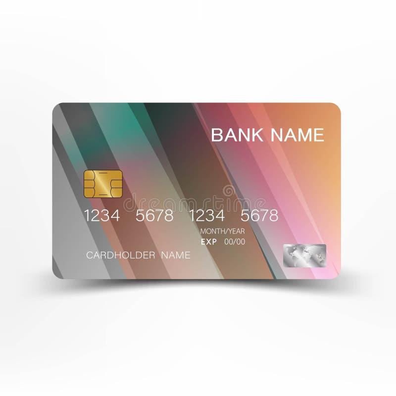 Kreditkarte s Mit Inspiration von der Zusammenfassung bunt auf dem weißen Hintergrund glatt lizenzfreie abbildung