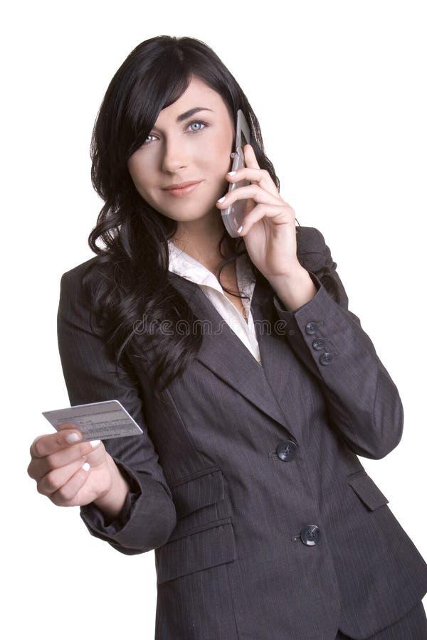 Kreditkarte-Telefon-Frau stockbild