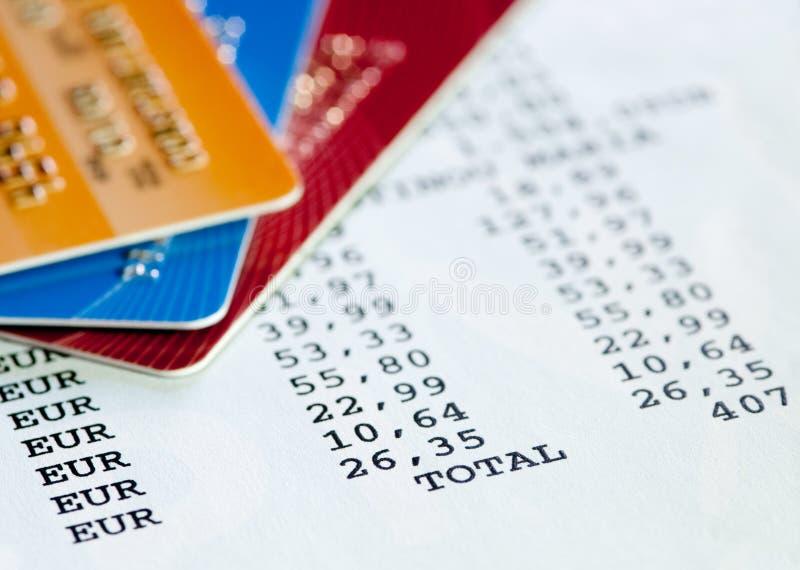 Kreditkarteaussage stockbilder
