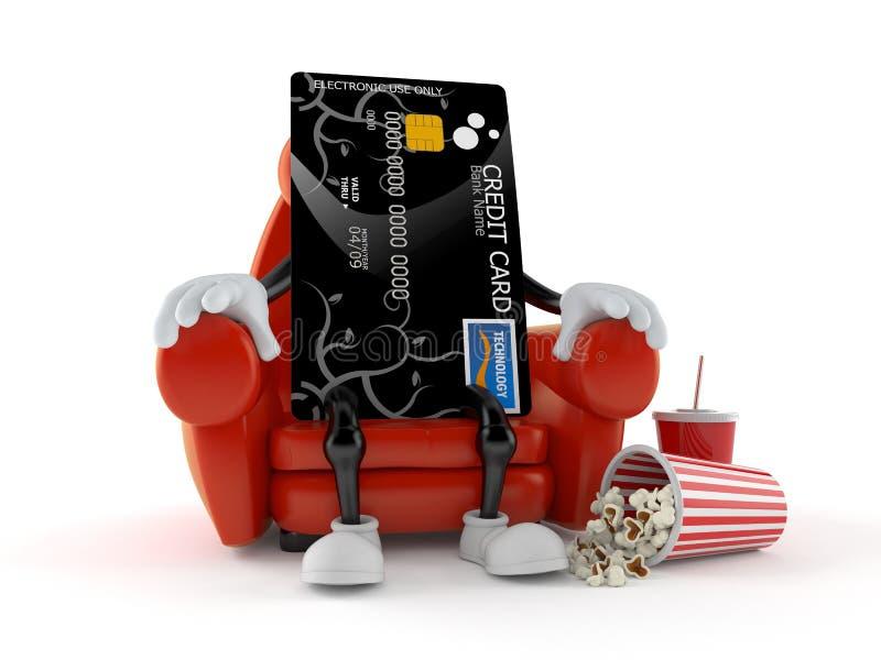Kreditkartecharakter, der im Kino sitzt stock abbildung