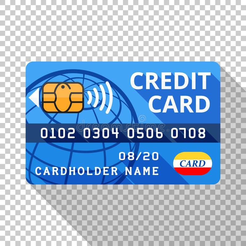 Kreditkarteikone in der flachen Art auf transparentem Hintergrund vektor abbildung
