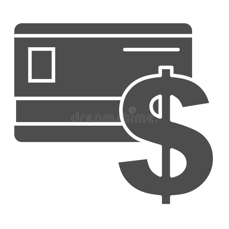 Kreditkartekörperikone Plastikkarten- und Dollarzeichenvektorillustration lokalisiert auf Weiß Bankkarte Glyph-Artentwurf vektor abbildung