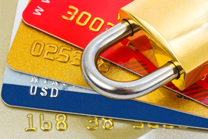 Kreditkarten und Verriegelung lizenzfreies stockbild