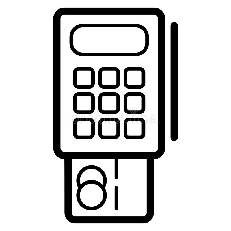 Kreditkarteterminalvektorikone Schwarzweiss-Terminalillustration Lineare Bankwesenikone des Entwurfs vektor abbildung