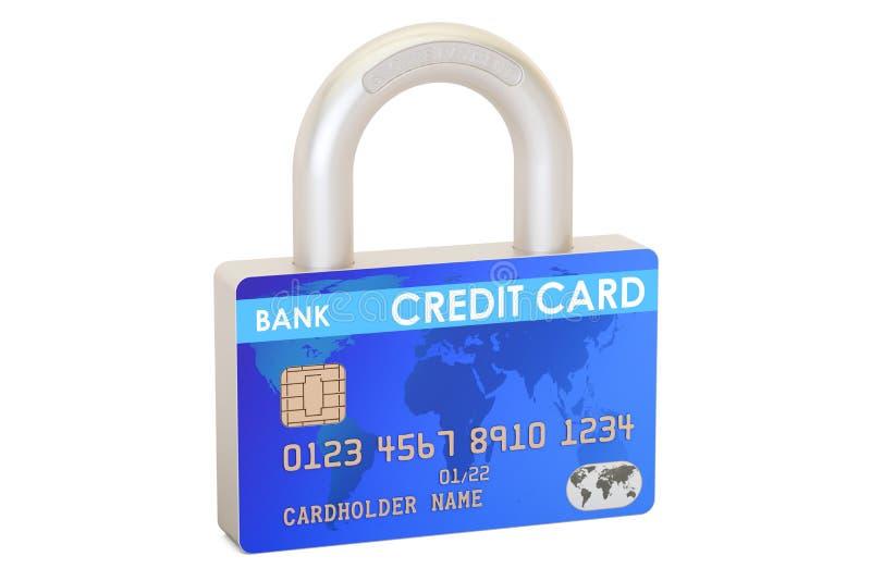 Kreditkartevorhängeschloß, sicheres Zahlungskonzept Wiedergabe 3d vektor abbildung