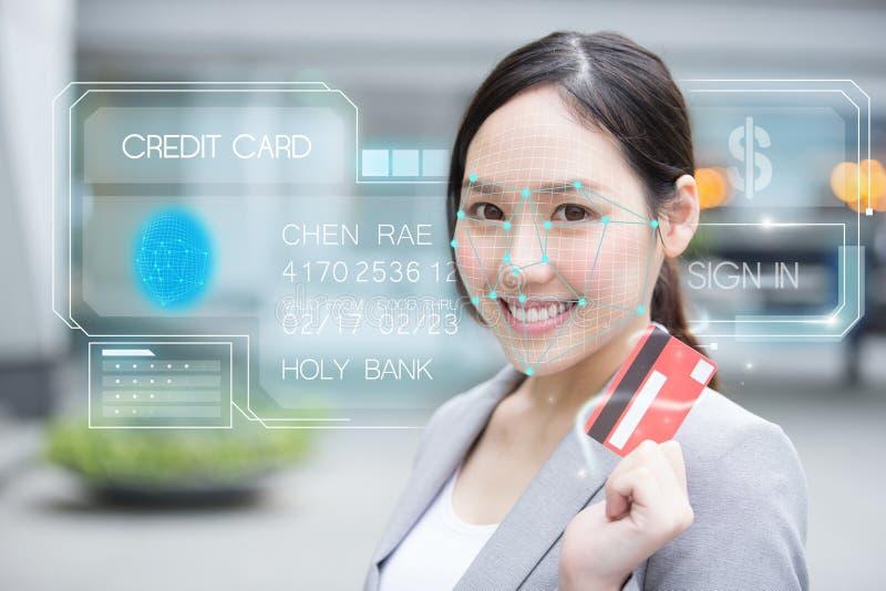 Kreditkort för inloggning för framsidaerkännande royaltyfri bild
