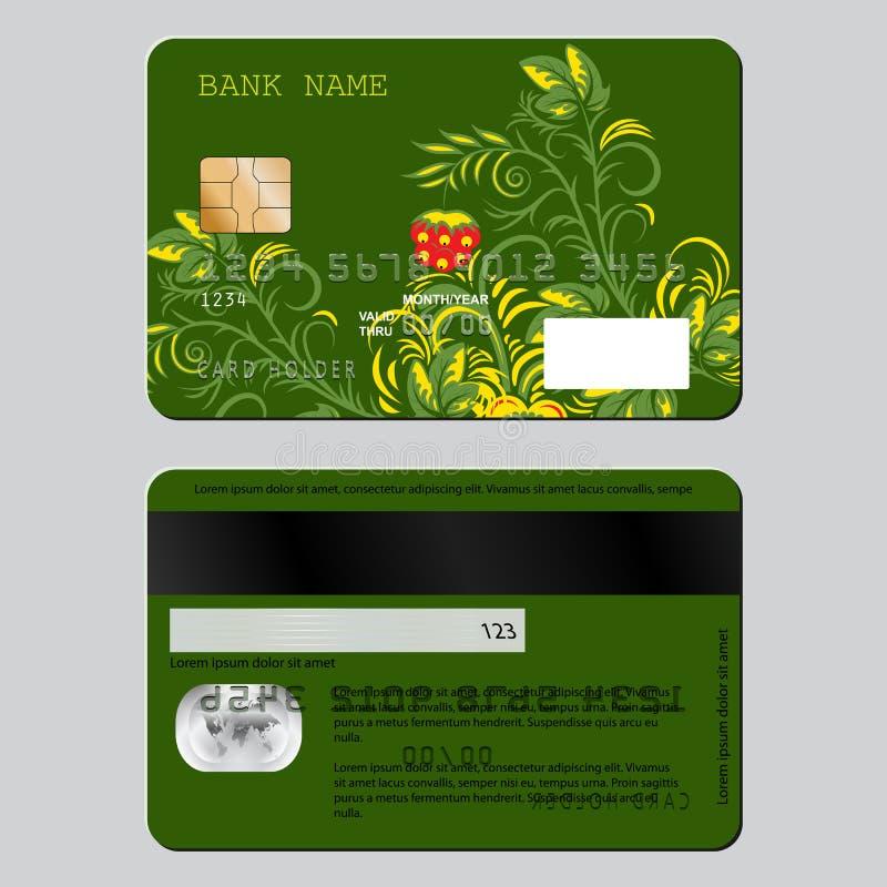 Kreditkort för mall för prövkopiadesign från två sidor Blommamodell i rysk etnisk stilhohloma vektor illustrationer