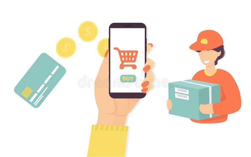 Kreditkort handkvinna, telefon, kurir royaltyfri illustrationer