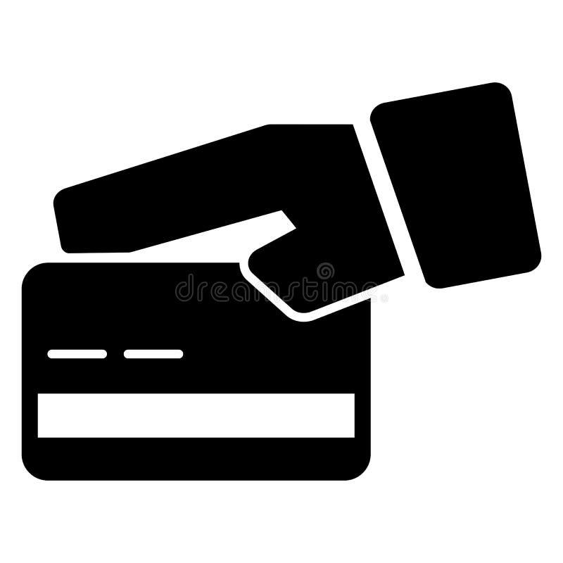 Kreditkort i handvektorsymbol Svartvit kortillustration Fast linjär symbol royaltyfri illustrationer