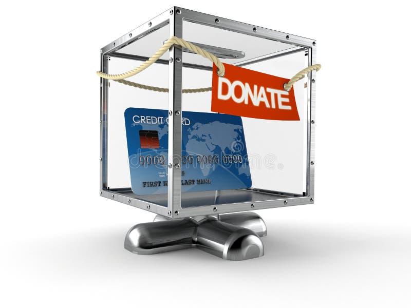 Kreditkort inom donationasken royaltyfri illustrationer