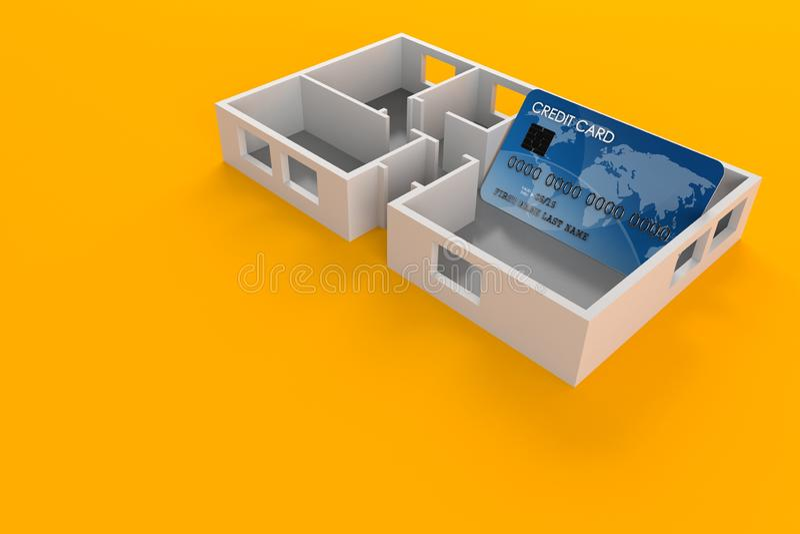 Kreditkort inom husplan royaltyfri illustrationer