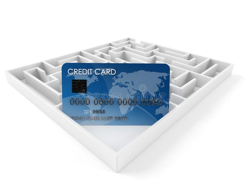 Kreditkort inom labyrint royaltyfri illustrationer