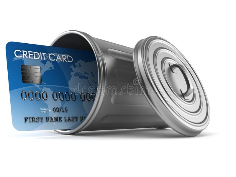Kreditkort inom soptunnan stock illustrationer